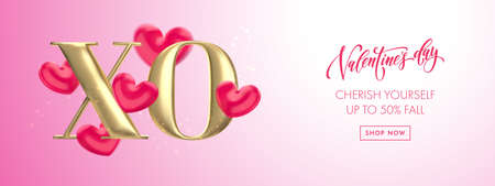 Valentine's day sale banner background with XO gold text. Hugs and Kisses concept of Valentines day with red heart balloon on pink bokeh background. Web site banner or greeting card