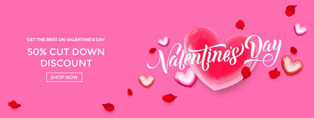 Valentines day sale web banner of valentine red heart balloon on pink background. Vector Valentines day sale text for holiday shop discount promo design template.