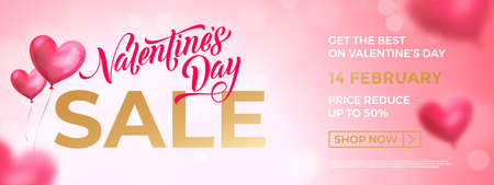 Valentine's day sale banner background. Valentines day lettering promo design with heart balloon background.