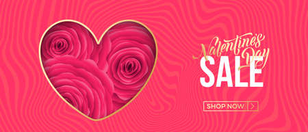 Valentines day sale web banner of valentine red heart with roses on pink background. Vector Valentines day sale text for holiday shop discount promo design template. 向量圖像
