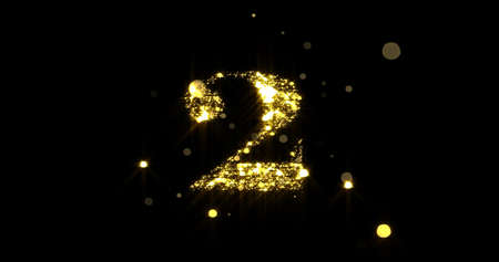 Number two glitter gold. Golden glittering number 2 with glister light and shiny sparks on black background