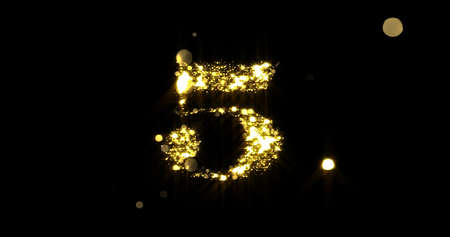 Number five glitter gold. Golden glittering number 5 with glister light and shiny sparks on black background
