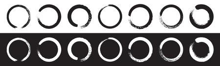 Hand drawn sketch vector brush line circle. Vector round scribble frame shape element. Circular paint brush stroke design