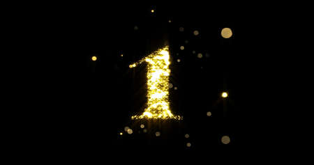 Number one glitter gold. Golden glittering number 1 with glister light and shiny sparks on black background
