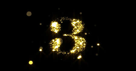 Number three glitter gold. Golden glittering number 3 with glister light and shiny sparks on black background 版權商用圖片