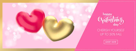 Valentine's day sale banner background. Valentines day gold heart balloon on pink bokeh background. Web site banner or greeting card concept.