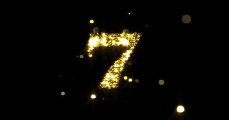 Number seven glitter gold. Golden glittering number 7 with glister light and shiny sparks on black background