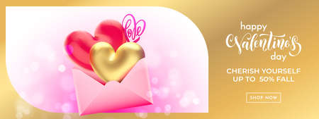 Valentine's day sale banner background with valentine envelope. Vector Valentines gold heart balloon on pink bokeh background. Web site banner or greeting card