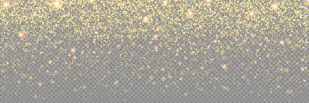 Glitter gold background with spark dust, vector glow shimmer effect. Christmas gold glitter glowing sparkles on transparent background, falling golden glittering shimmer