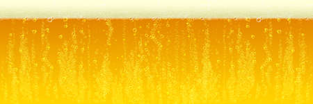 Beer background with foam froth bubbles texture. Horizontal amber foam or cold fresh beer pattern background