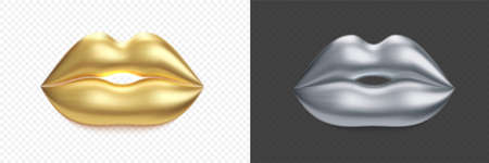 Gold lips. 3D Vector golden kiss and silver lips isolated on transparent background 向量圖像