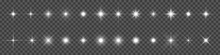 Star light and shine glow, vector sparks and bright sparkles effect on transparent background. Stars flare and starlight flash shine, magic glitter and twinkling stars