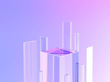 Transparent crystal glass pedestal podium stand