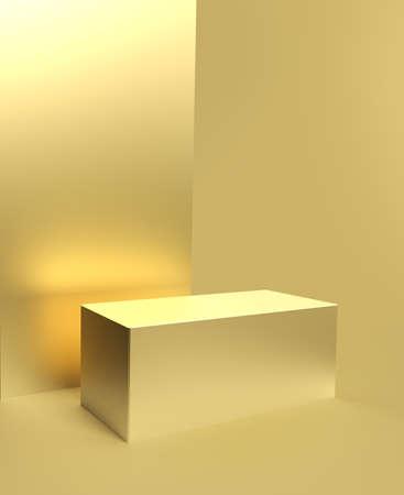 Golden pedestal or product display, luxury stand or studio showcase podium 版權商用圖片