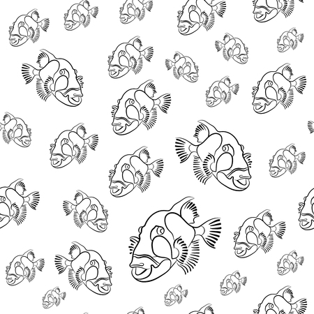Titan triggerfish pattern, Balistoides viridescens background, drawn with a pencil pattern