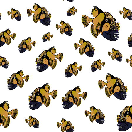 triggerfish: Titan triggerfish pattern, Balistoides viridescens background Illustration
