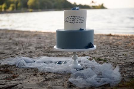 wedding cake on the beach Stock Photo