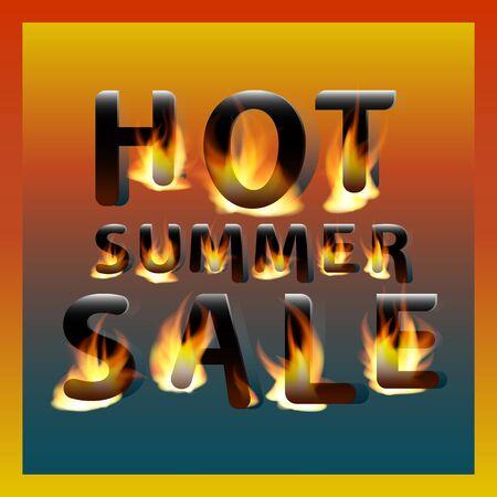 Fiery hot summer sale. Design template. Promotional marketing banner poster.