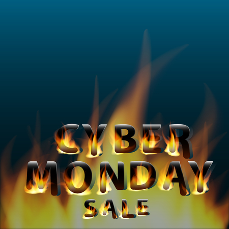 Fiery hot cyber monday sale. Promotional marketing banner poster. Design template.