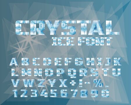 Ice crystal alphabet. Frozen water in the shape of the alphabet Vector illustration.  イラスト・ベクター素材
