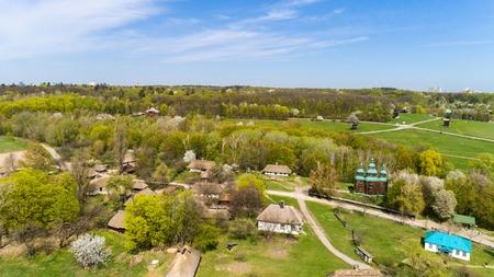 Aerial view over traditional Ukrainian village in spring, Pirogovo, KIev Stock Photo