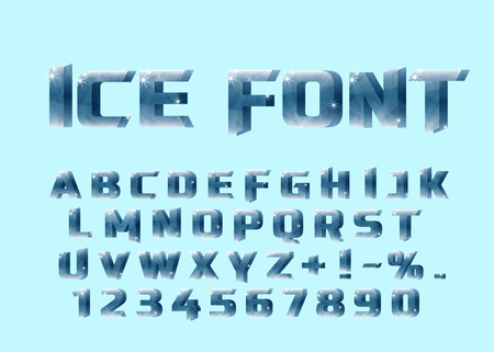 Ice font. Ice letters and numerical.