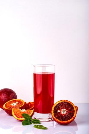 Fresh sicilian orange juice. Sicilian drink on a white background. Copy space.