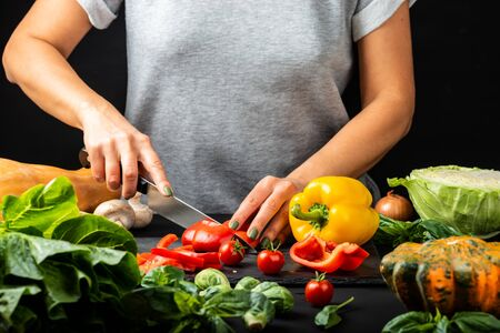 Womans hands prepare vegetarian food, cut different vegetables. Healthy eating diet concept.