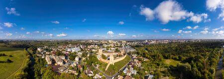 Aerial panorana view of The Lubart Castle in Ukraine. Cityscape Lutsk. Stock Photo