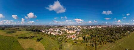 Aerial Panorama view of Lutsk Cityscape Near The Lubart Castle.