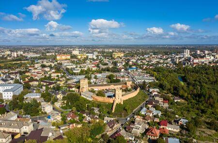 Aerial view of Lutsk The Lubart Castle.