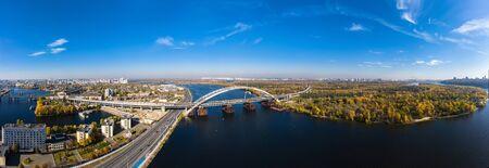 Aerial panorama view of Unfinished bridge and Rybalskyi Peninsula
