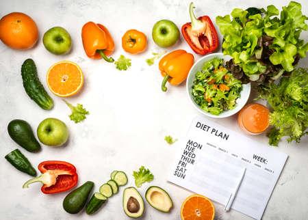 Weight loss menu. Diet plan, vegetables, salad juice top view