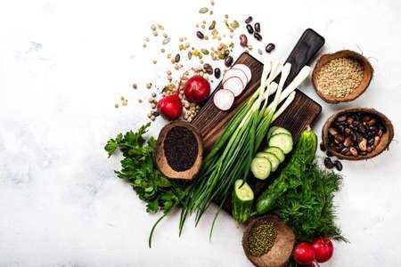 Raw ingredients for cooking vegetarian food. Healthy vegan meal top view 写真素材
