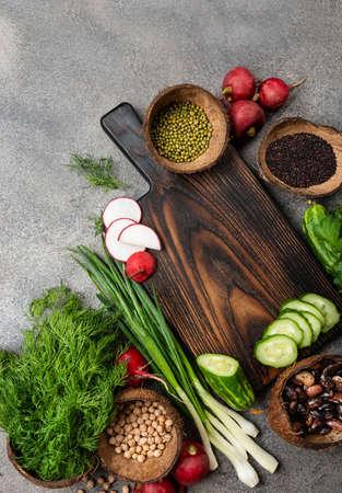 Healthy food clean eating concept. Vegetables ingredients for cooking vegan food 写真素材