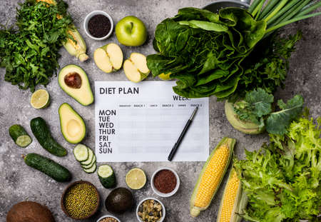 Diet Plan and set healthy food products top view. 写真素材