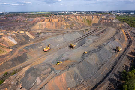 Aerial view of the Iron ore mining. 写真素材