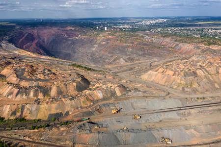 Large quarry dumper aerial view. 写真素材