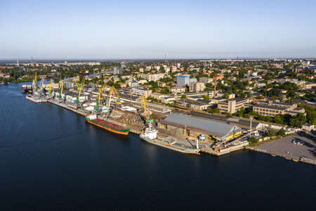 Kherson city cargo port near the Dnieper river aerial view Stock Photo