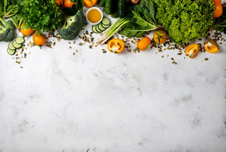 Eco food background Raw ingredients for cooking vegetarian meal. Top view with copy space