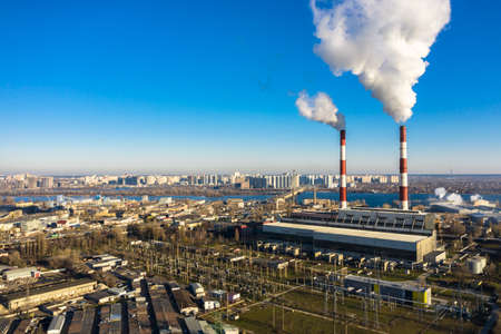 Garbage incineration plant. Environmental pollution within the city aerial view.