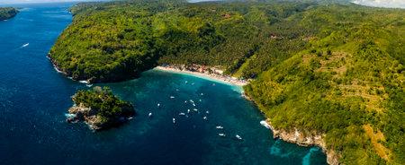 Crystal Bay Beach on Nusa Penida Island aerial panorama view.