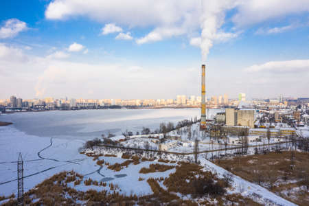 Garbage incineration plant at the winter aerial panorama view.