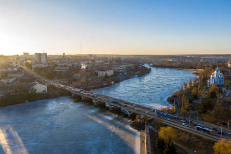 The Vinnytsia city in Ukraine at the winter aerial sunset view.