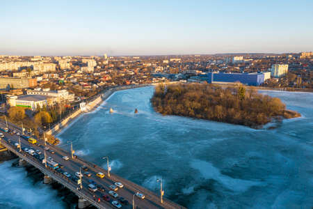 The Vinnitsa city in Ukraine at the winter aerial view.