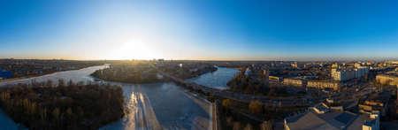 The Vinnytsia city in Ukraine at the winter aerial panorama view.