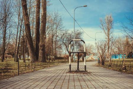 Blocker for cars on a pedestrian street in a park Zdjęcie Seryjne