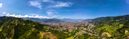 The Medellin city in the Andes Mountains Colombia aerial panorama view Zdjęcie Seryjne