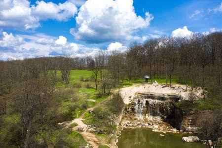 Cascade waterfall in the landscape Sophia Park, Uman, Ukraine Zdjęcie Seryjne