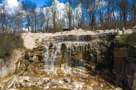 Beautiful cascade waterfall in Sofiyivka park in Uman, Ukraine